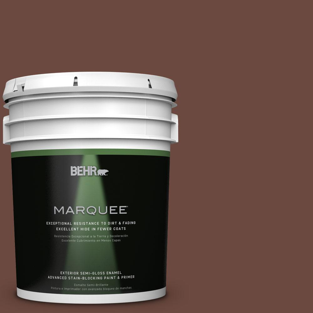 BEHR MARQUEE 5-gal. #S-G-750 Chocolate Sprinkle Semi-Gloss Enamel Exterior Paint