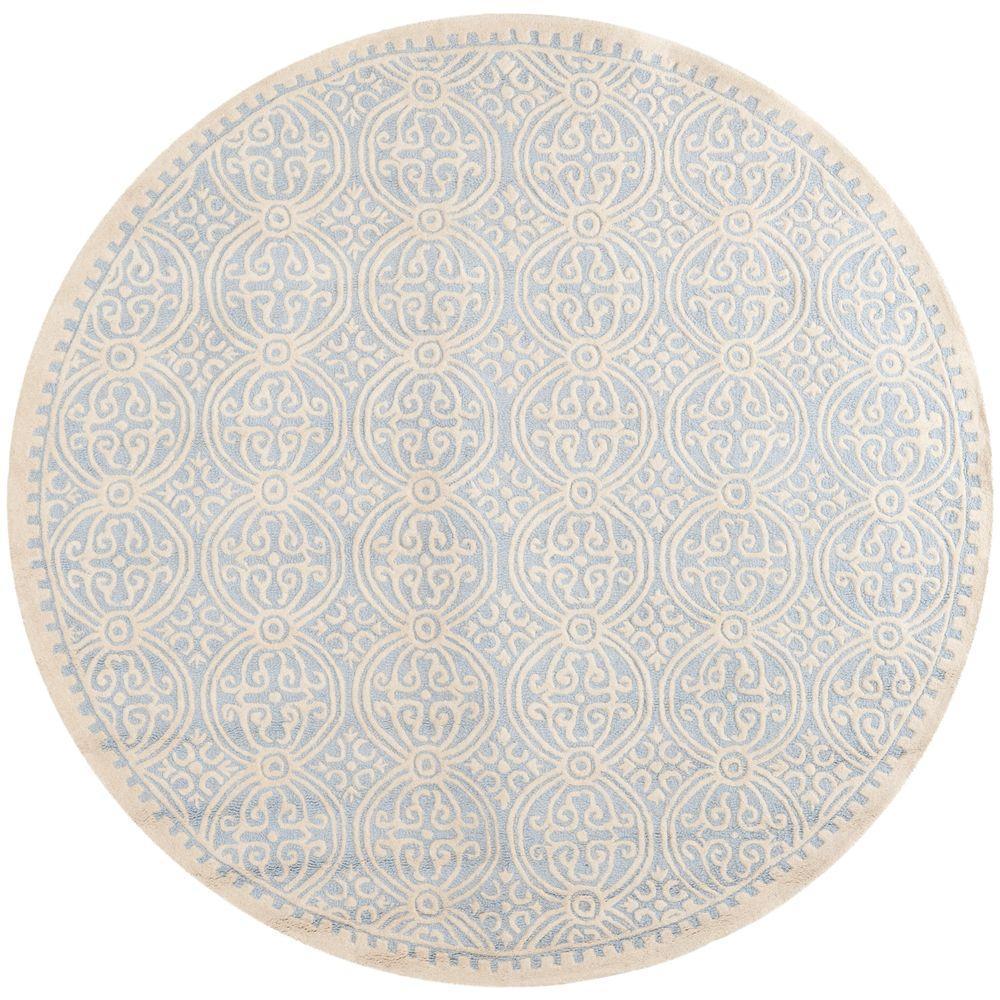 Safavieh Cambridge Light Blue/Ivory 4 ft. x 4 ft. Round Area Rug