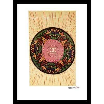 """20 in x 16 in"" ""Floral Disc"" Vintage Chanel Ad by Fairchild Paris Framed Printed Wall Art"