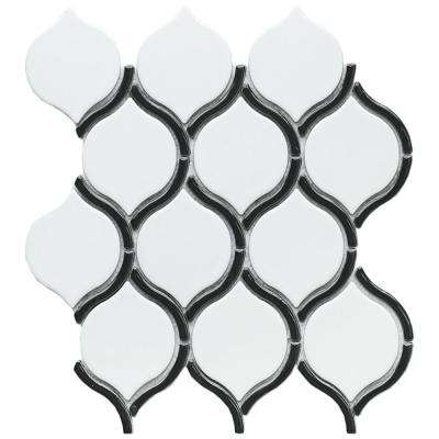Divine Ares Glossy 10.47 in. x 11.73 in. x 8mm Ceramic Mesh-Mounted Mosaic Tile