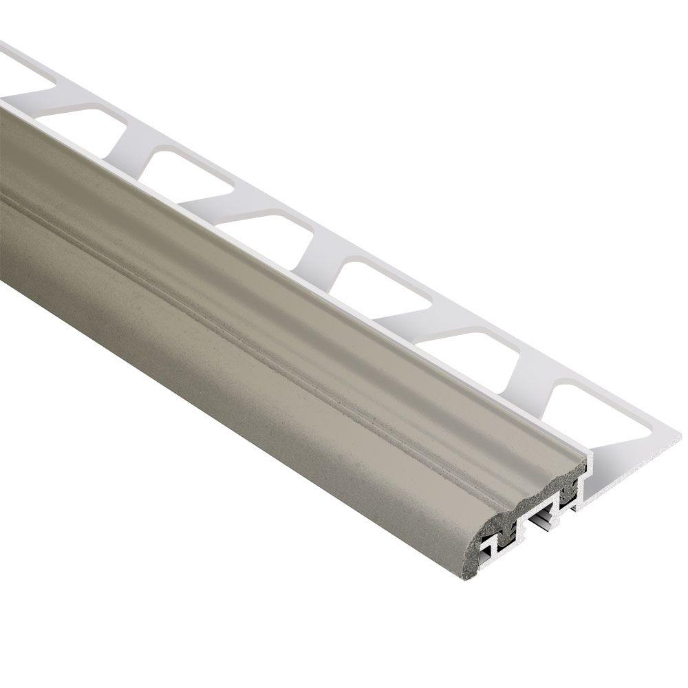 Schluter Trep-S Aluminum with Grey Insert 1/2 in. x 8 ft. 2-1/2 in. Metal Stair Nose Tile Edging Trim