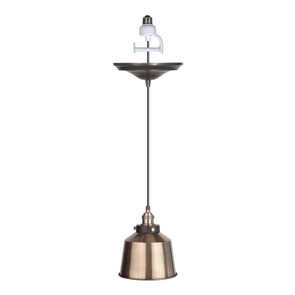 Worth Home Products Instant Pendant 1-Light Brushed Brass Recessed Light Conversion Kit with Metal Shade