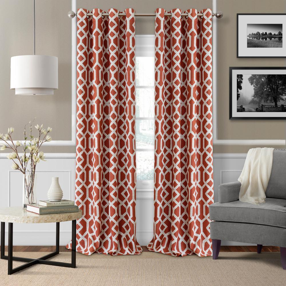 Elrene Grayson 52 in. W x 84 in. L Polyester Single Blackout Window Panel in Rust