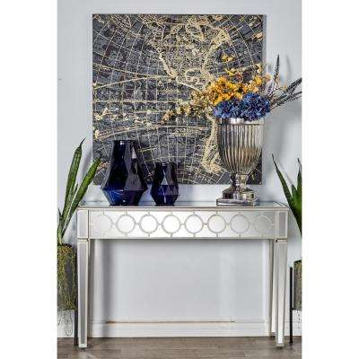Metallic Gray Wood And Glass Console Table