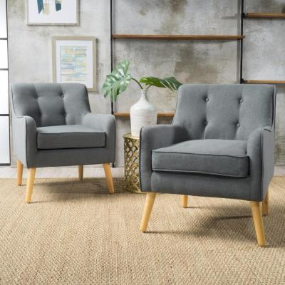 Felicity Mid-Century Modern Button Back Charcoal Fabric Armchairs (Set of 2)