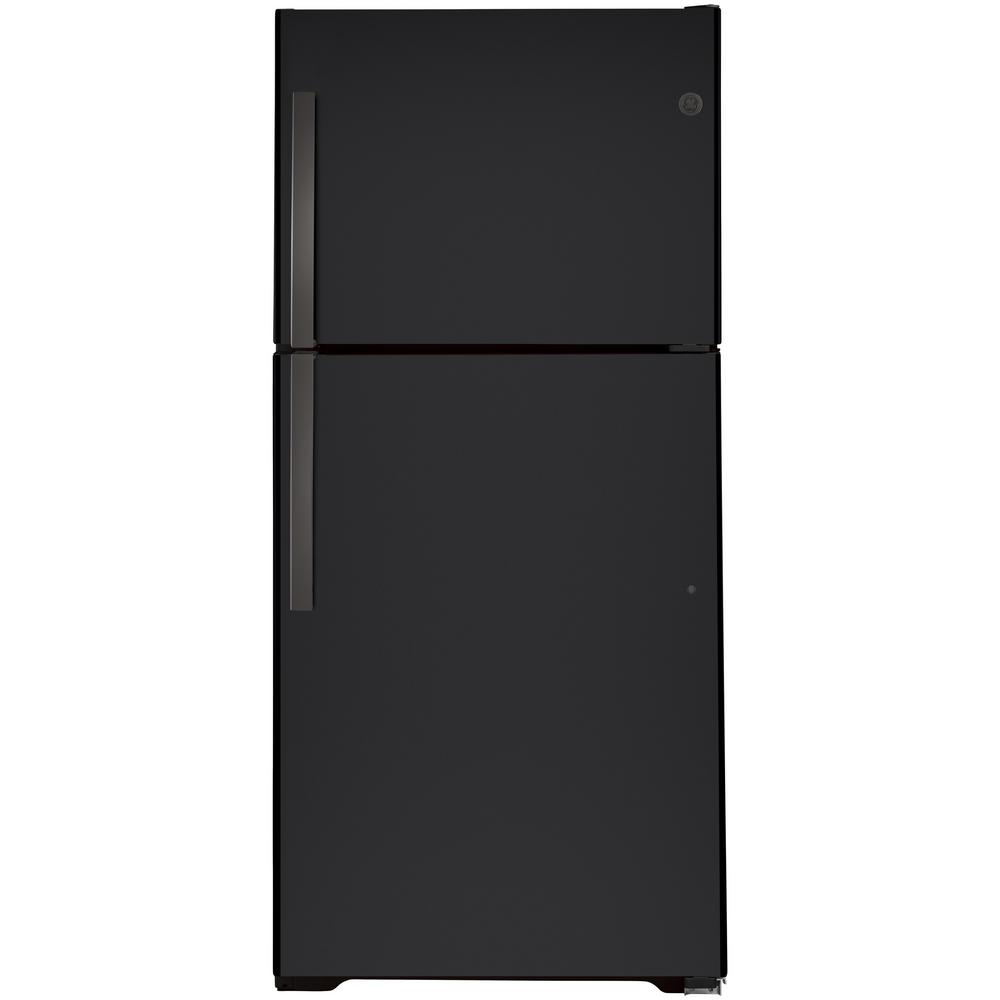 GE 21.9 cu. ft. Top Freezer Refrigerator in Black Slate, Fingerprint Resistant