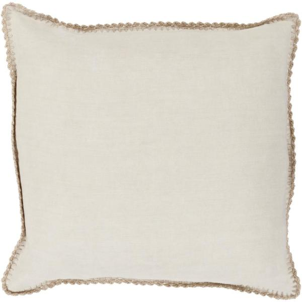 Odalys Beige Solid Polyester 22 in. x 22 in. Throw Pillow