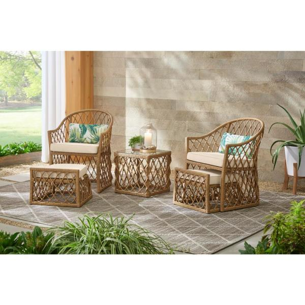 Hampton Bay Long Beach 5 Piece Steel Outdoor Patio Conversation Seating Set With Beige Cushions Frs60699 St 1 The Home Depot