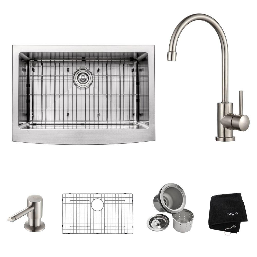 KRAUS All-in-One Farmhouse Apron Front Stainless Steel 30 in. Single Basin Kitchen Sink with Faucet in Stainless Steel