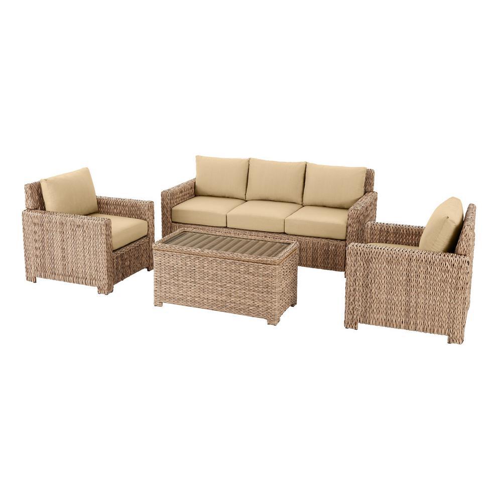 Laguna Point 4-Piece Natural Tan Wicker Outdoor Patio Conversation Seating Set with Sunbrella Beige Tan Cushions