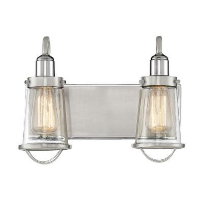2-Light Satin Nickel with Polished Nickel Accents Bath Light with Clear Glass