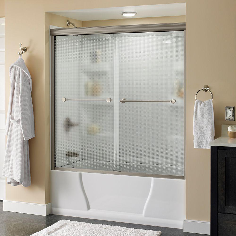 Crestfield 60 in. x 58-1/8 in. Semi-Frameless Sliding Bathtub Door in Nickel with Droplet Glass