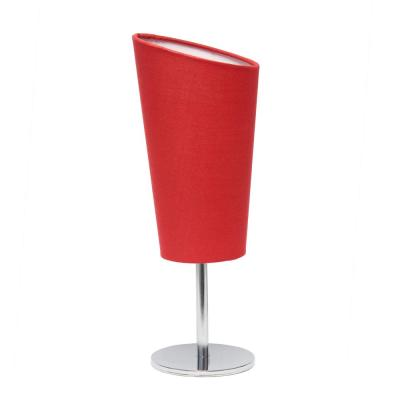 12.6 in. Chrome Mini Table Lamp with Red Angled Fabric Shade