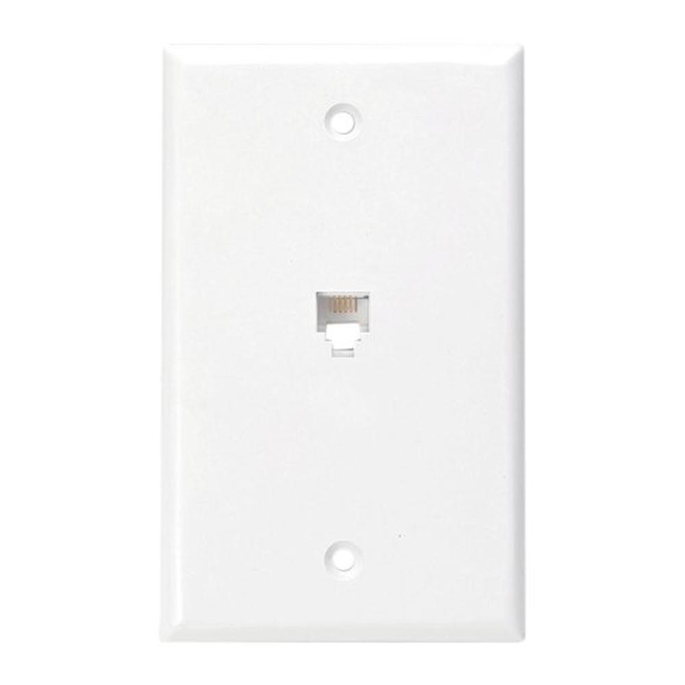6p4c type 625b4 wall phone jack, white