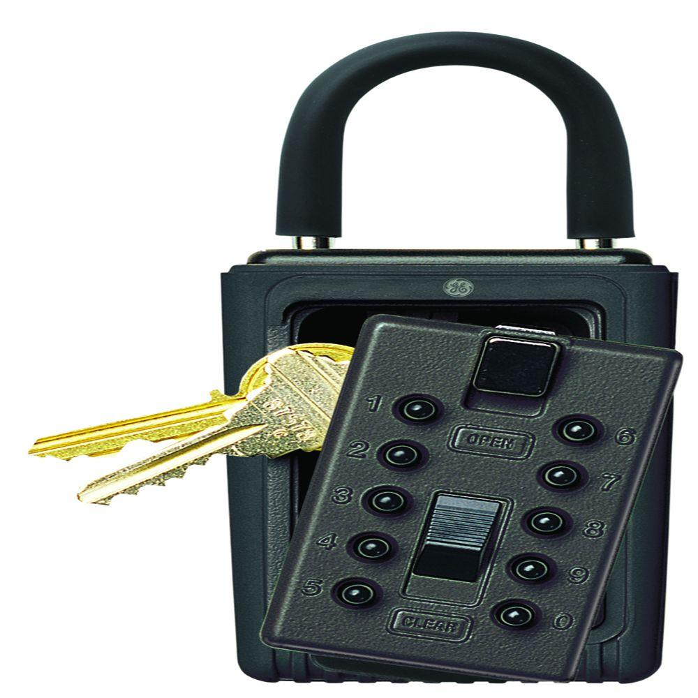 Portable 3-Key Box with Pushbutton Combination Lock, Black