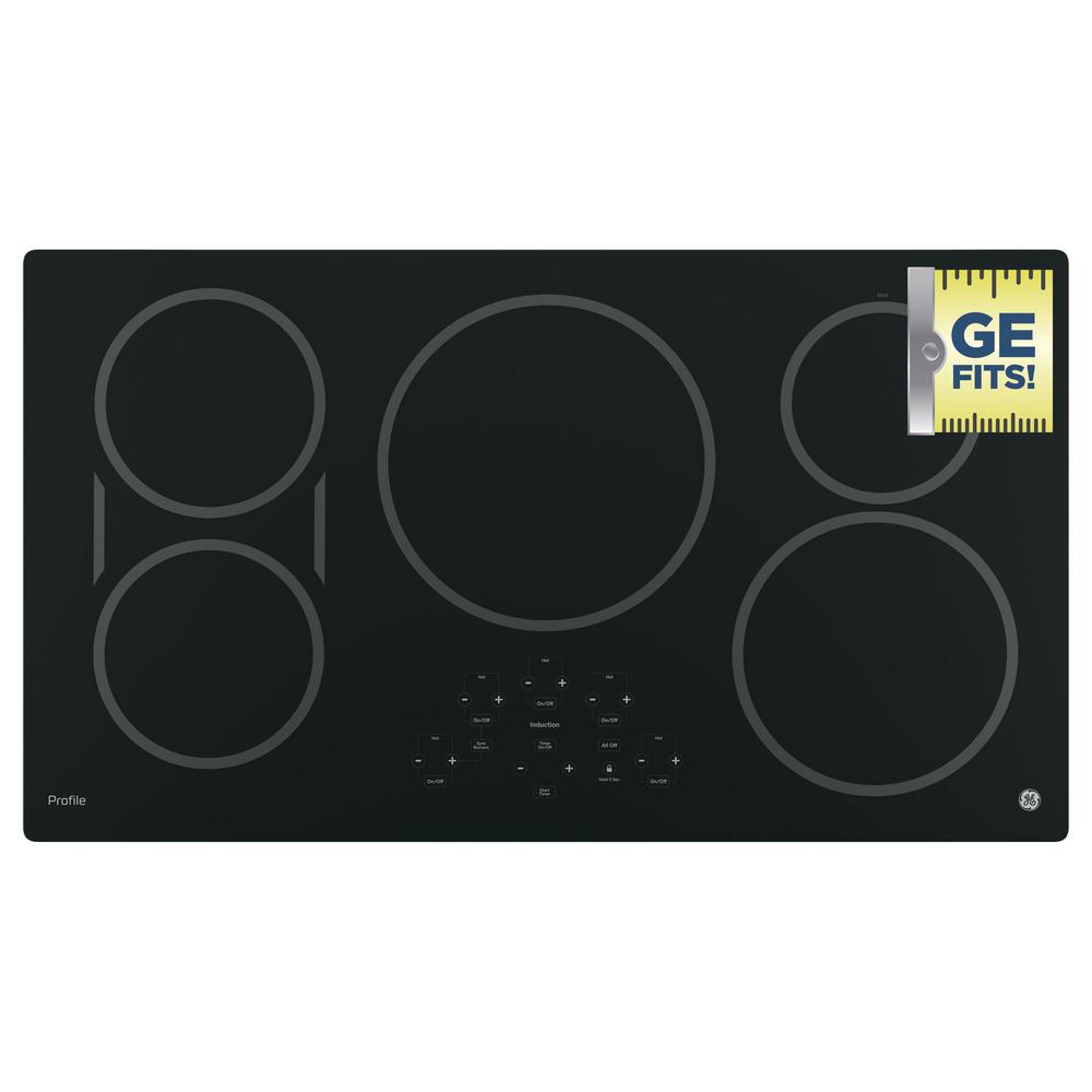 Electric Induction Cooktop in Black with 5 Elements and Exact Fit