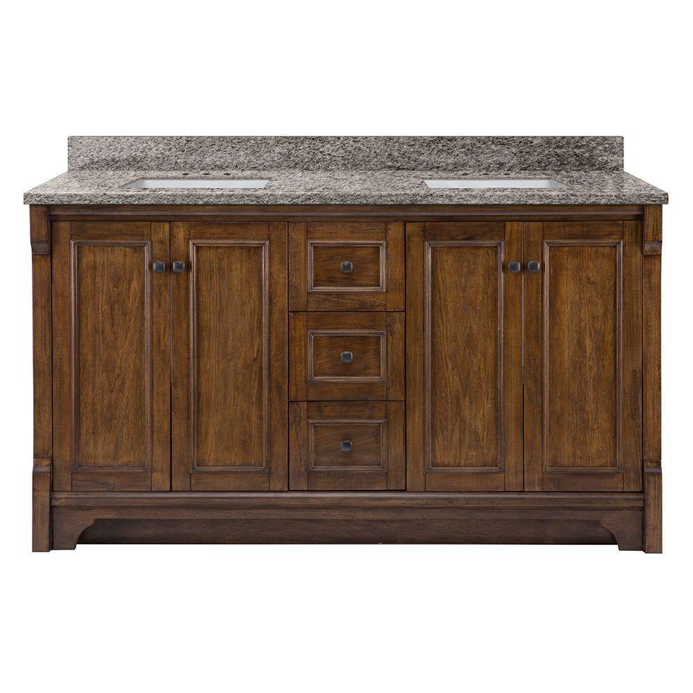 Creedmoor 61 in. W x 22 in. D Vanity in Walnut with Granite Vanity Top in Sircolo with White Sinks