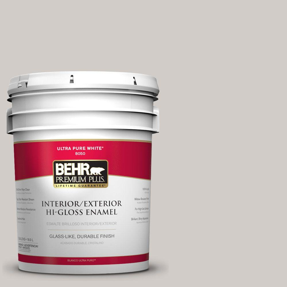 BEHR Premium Plus Home Decorators Collection 5-gal. #HDC-NT-20 Cotton Grey Hi-Gloss Enamel Interior/Exterior Paint
