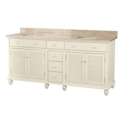 Cottage 72 in. W x 22 in. D Double Bath Vanity in Antique White with Granite Vanity Top in Mohave Beige