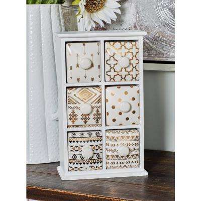 White Rectangular 6-Drawer Jewelry Chest with Black and Gold Accents