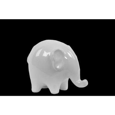 4.25 in. H Elephant Decorative Figurine in White Gloss Finish
