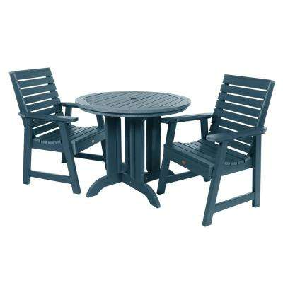 Weatherly Nantucket Blue 3-Piece Recycled Plastic Round Outdoor Dining Set