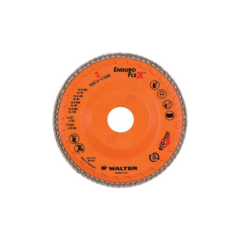 Surface Finishing Discs - 40 Grit Walter Surface Technologies 06F454 ENDURO-FLEX Abrasive Flap Disc Grinding Disc with ECO-TRIM Backing 4-1//2 in Pack of 10