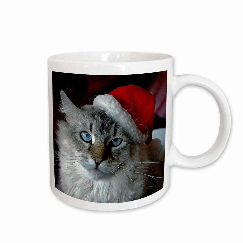 Holidays 11 oz. White Ceramic Christmas Cat Mug