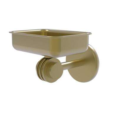 Satellite Orbit 2-Collection Wall Mounted Soap Dish with Dotted Accents in Satin Brass
