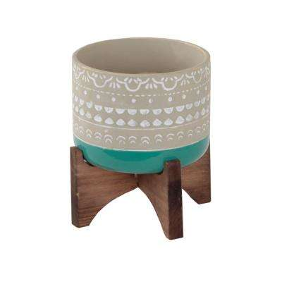 5 in. Teal Mayan Ceramic Pot 2-Tone Color Block Planter on Wood Stand Mid-Century Planter