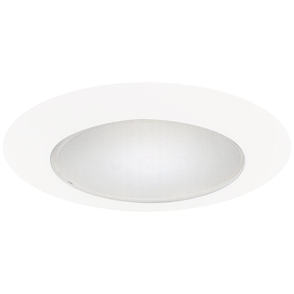 6 in. White Recessed Ceiling Light Albalite Glass Lens Trim