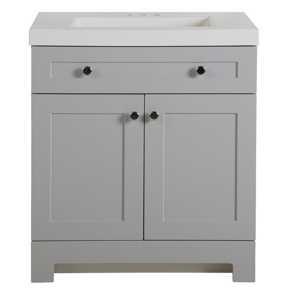 Everdean 30.5 in. W x 19 in. D x 34 in. H Vanity in Pearl Gray with Cultured Marble Vanity Top in White with White Sink