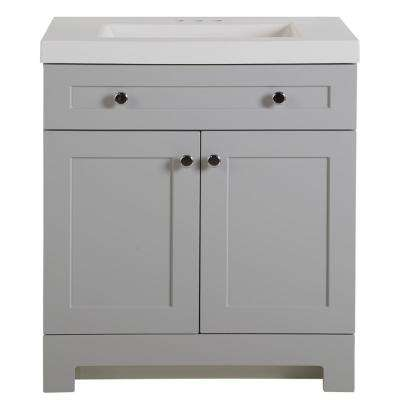 Everdean 30.5 in. W x 19 in. D x 34 in. H Vanity in Pearl Gray with Cultured Marble Vanity Top in White with White Basin