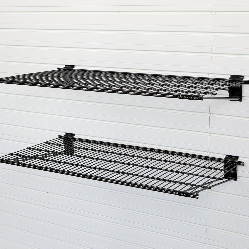Pleasing Flow Wall 24 In X 12 In Metal Bracket Shelf Black 2 Pack Interior Design Ideas Apansoteloinfo