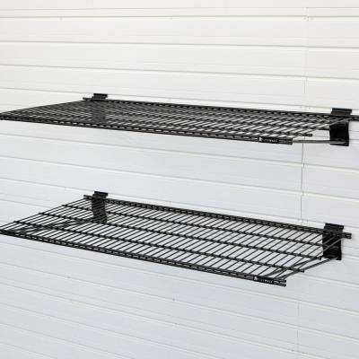 24 in. x 12 in. Metal Bracket Shelf - Black (2-Pack)