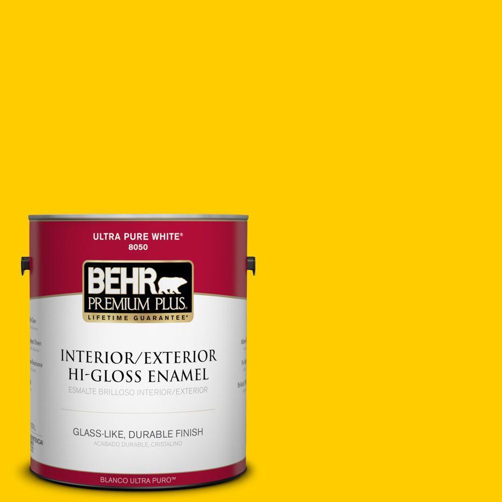 BEHR Premium Plus 1-gal. #380B-7 Marigold Hi-Gloss Enamel Interior/Exterior Paint