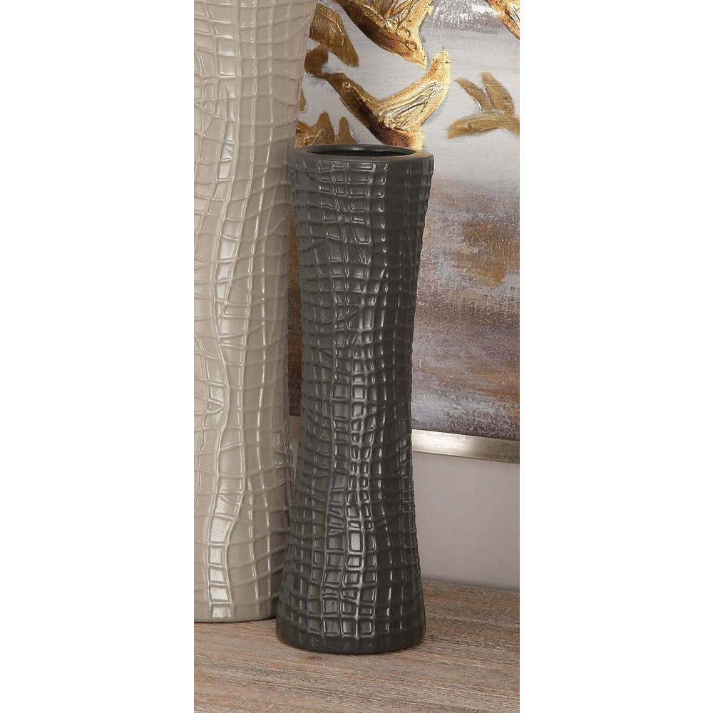 13 in. Hourglass Ceramic Decorative Vases in Black, White and Gray
