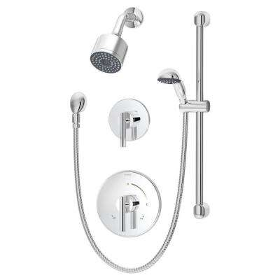 Dia 2-Handle Shower Faucet Trim Kit with Hand Shower in Chrome (Valve Not Included)