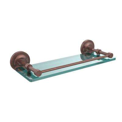 Prestige Regal 16 in. L x 3 in. H x 5 in. W Clear Glass Bathroom Shelf with Gallery Rail in Antique Copper