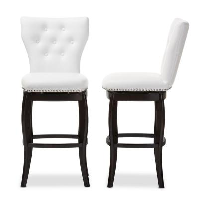 Leonice White Faux Leather Upholstered 2-Piece Bar Stool Set