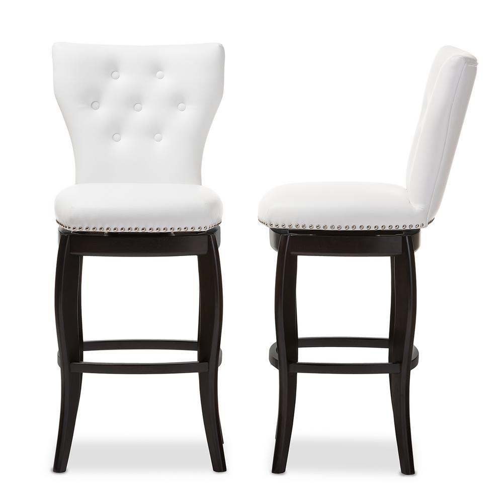 Baxton Studio Leonice White Faux Leather Upholstered 2-Piece Bar Stool Set