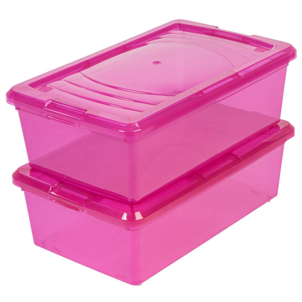IRIS 6 Qt Modular Storage Box in Pink 10 Pack 585317 The Home Depot