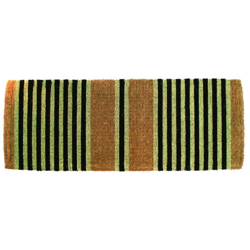 Entryways Ticking Black 18 in. x 47 in. Extra-Thick Hand Woven Coir Door Mat-DISCONTINUED