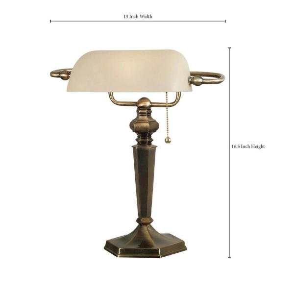 Kenroy Home Mackinley 15 In Georgetown Bronze Banker Lamp 20615gbrz The Home Depot