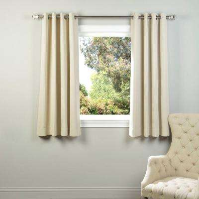Semi-Opaque Egg Nog Ivory Grommet Blackout Curtain - 50 in. W x 63 in. L (Panel)