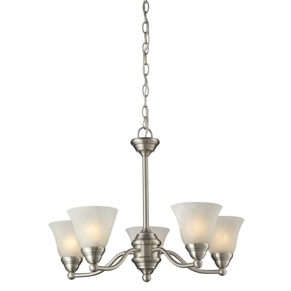 Lawrence 5-Light Brushed Nickel Incandescent Ceiling Chandelier