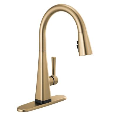 Lenta Touch Single-Handle Pull-Down Sprayer Kitchen Faucet with ShieldSpray Technology in Champagne Bronze