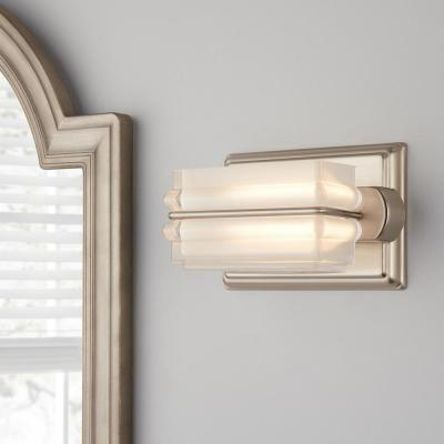 Saltarell 8-Watt Brushed Nickel LED Wall Sconce with Clear Etched Glass