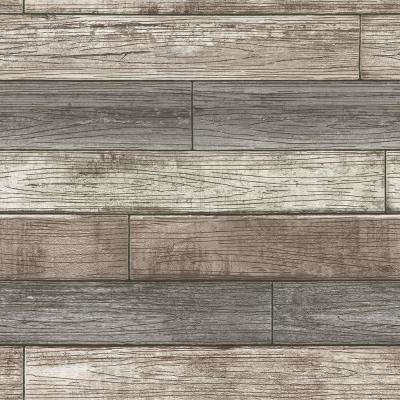 Reclaimed Wood Plank Natural Vinyl Strippable Wallpaper (Covers 30.75 sq. ft.)