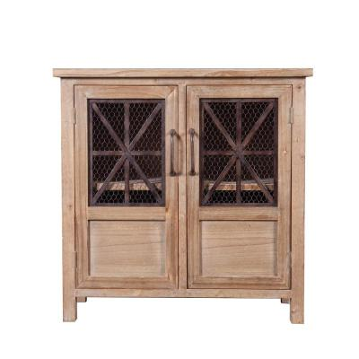 Natural Wood and Metal Cabinet with Double Doors